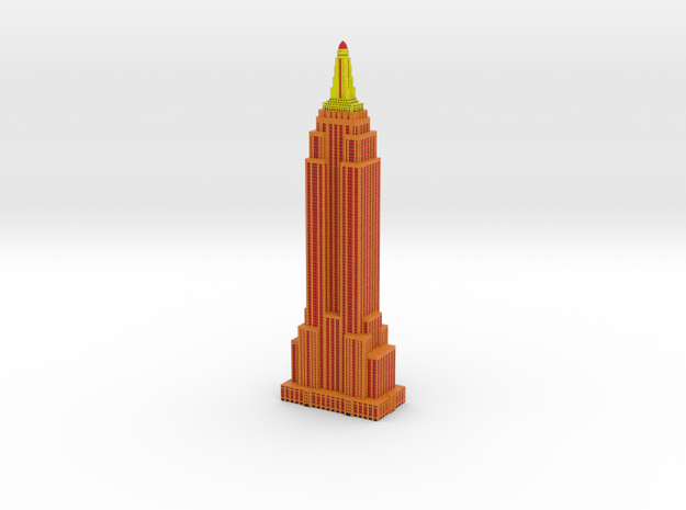 Empire State Building - Orange w Black windows in Full Color Sandstone
