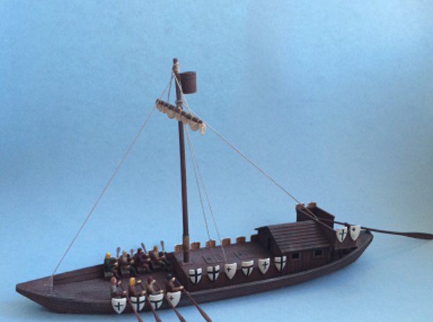Medieval Teutonic Riverboat in White Natural Versatile Plastic