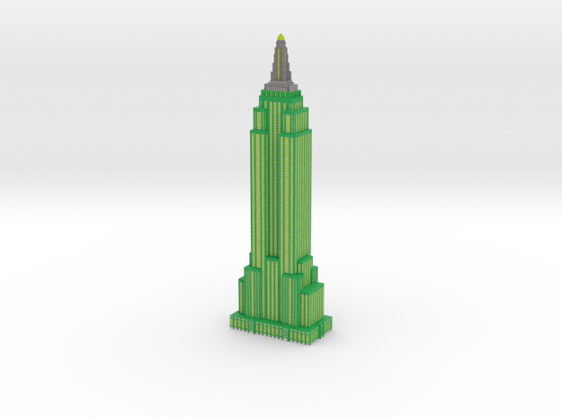 Empire State Building - Green w White windows in Full Color Sandstone