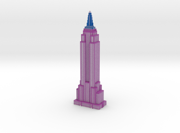 Empire State Building - Purple w White windows in Full Color Sandstone