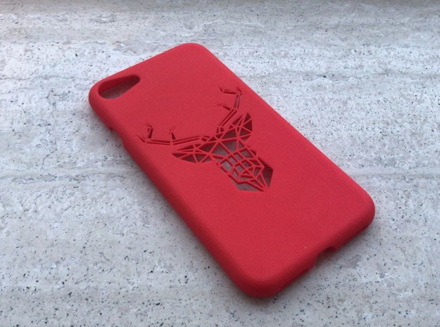 Iphone 7 Case, Geometric Deer in Red Processed Versatile Plastic