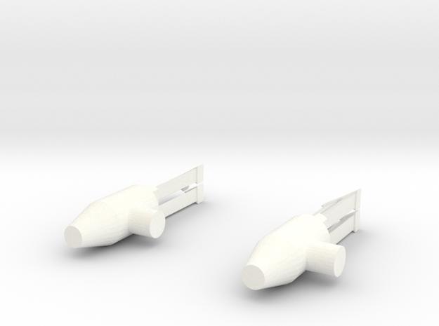 Tri-barrel Guns in White Processed Versatile Plastic