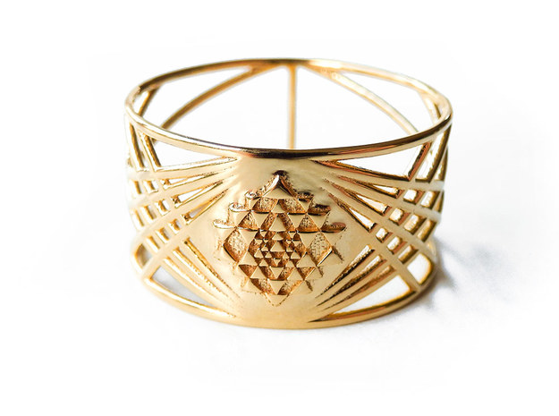 Sri Yantra Ring in 18k Gold Plated Brass: 9.25 / 59.625