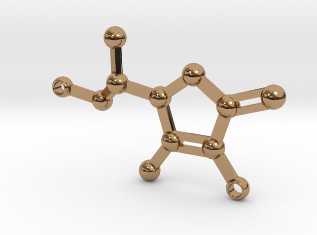 vitamin C - keychain in Polished Brass