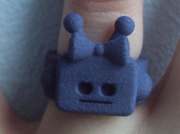 Girl Robot Ring 3d printed Dark Grey Strong & Flexible