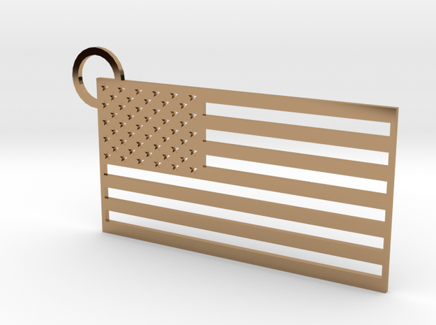 USA Flag Keychain in Polished Brass