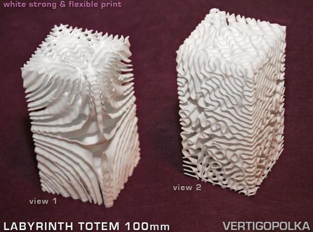 Labyrinth Totem 100mm in White Natural Versatile Plastic