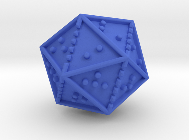 Braille Twenty-sided Die d20 in Blue Strong & Flexible Polished