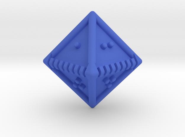 Braille Eight-sided Die d8 in Blue Processed Versatile Plastic
