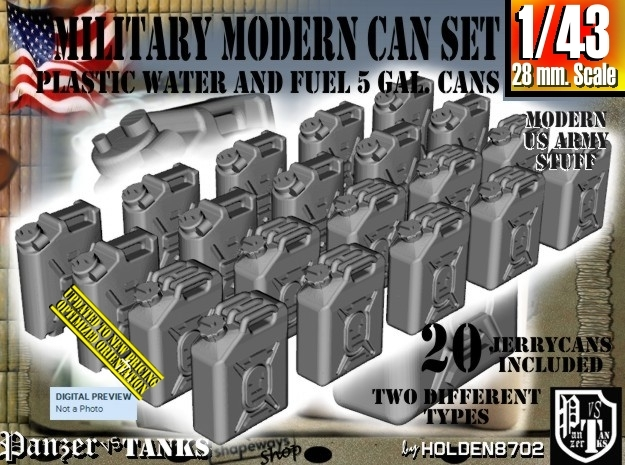 1/43 Military Fuel+Water Can Set401 in Frosted Ultra Detail