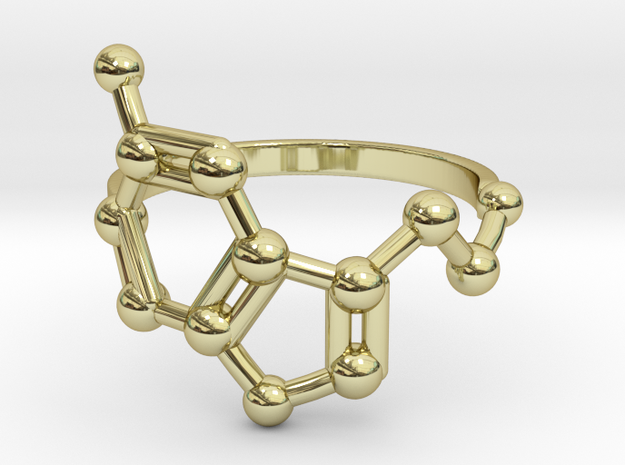 Serotonin (Happiness) Molecule Ring in 18k Gold Plated Brass: 6.5 / 52.75