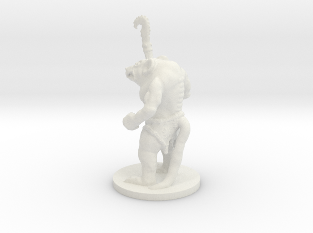 Rat Warrior on 28mm base in White Natural Versatile Plastic