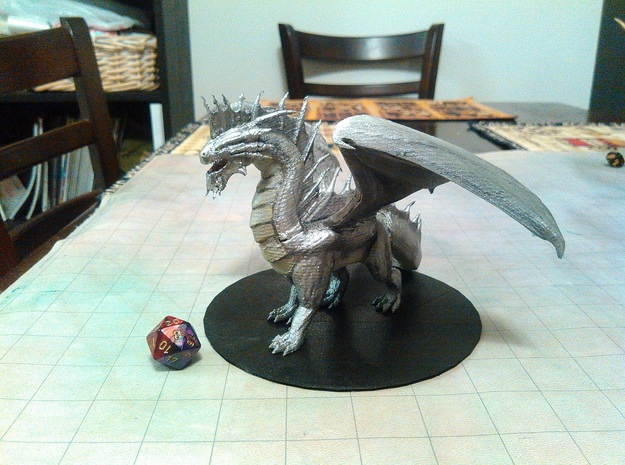 Adult Silver Dragon in White Natural Versatile Plastic