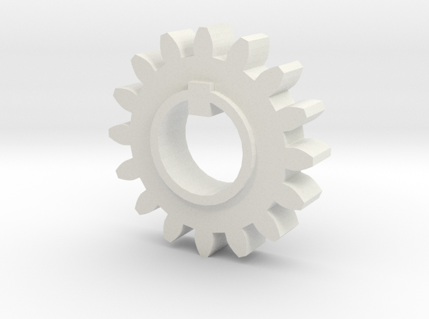 Gear 20 degree 16 tooth 15.5mm bore with keyway in in White Natural Versatile Plastic