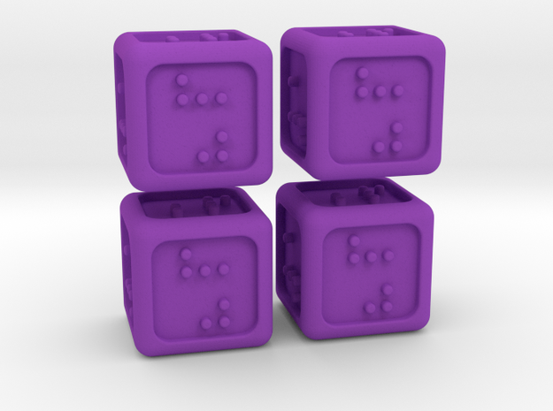 4 Braille Six-sided Dice Set (Curved Corners) in Purple Strong & Flexible Polished