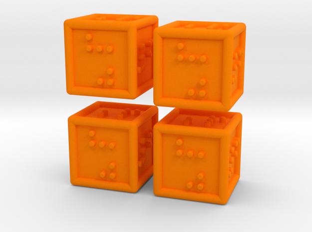4 Braille Six-sided Dice Set in Orange Processed Versatile Plastic