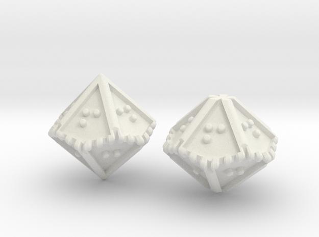 Braille Percentile Dice Set in White Natural Versatile Plastic