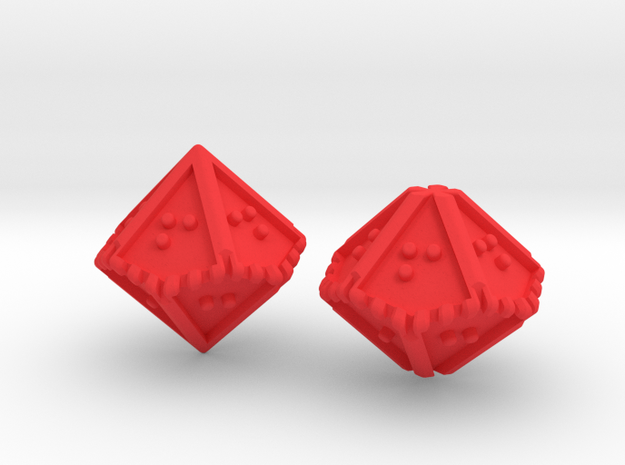 Braille Percentile Dice Set in Red Processed Versatile Plastic