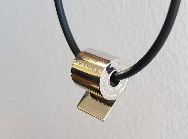Toilet Paper Roll Pendant in Rhodium Plated Brass