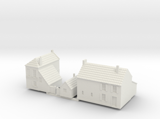 1:350-French Houses X2 in White Natural Versatile Plastic