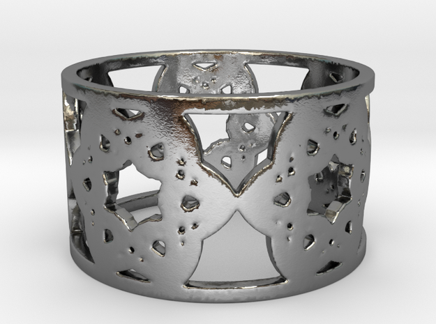 Floral Ring Design - Size 8 in Polished Silver