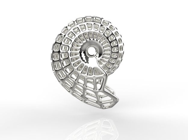 NAUTILUS  Pendant, 3cm length in Polished Nickel Steel