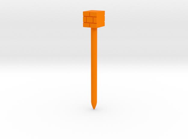 Brick Block stylus in Orange Processed Versatile Plastic