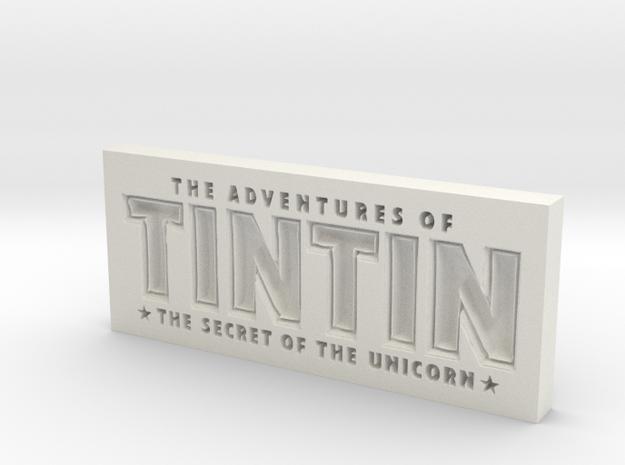 Tintin Logo in White Natural Versatile Plastic
