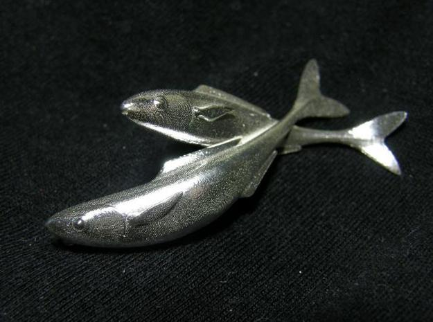 Fish Duo 1 in Natural Silver