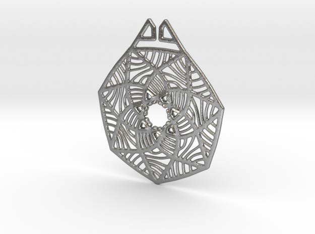 Grass Flower Pendant in Natural Silver