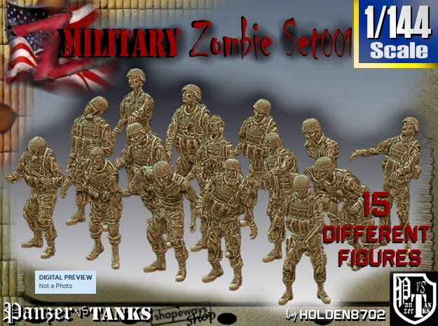 1/144 Army Zombies Set001 in Frosted Ultra Detail