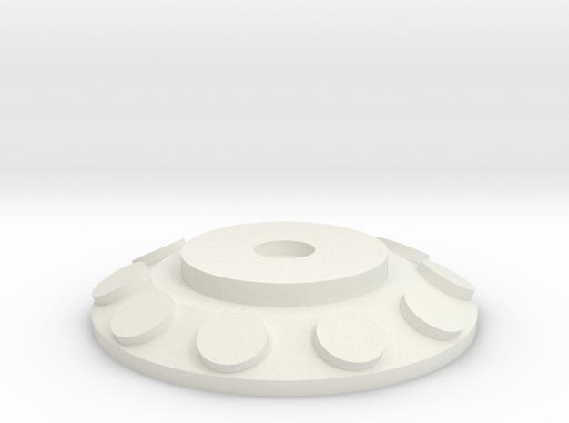 HIC Round Flat in White Natural Versatile Plastic
