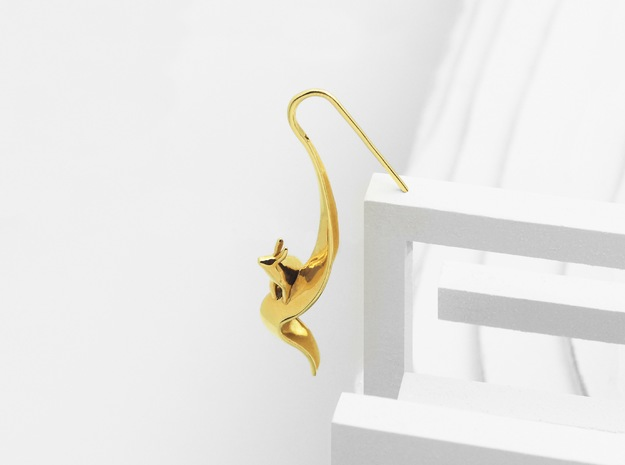 Rabbit Earrings (Speaking) in Polished Brass