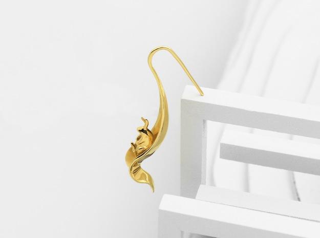 Rabbit Earrings (Listening) in Polished Brass