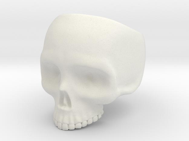 Skull Ring v3 - Size 6 in White Natural Versatile Plastic