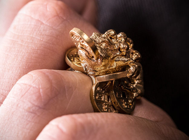 Greedy Money Toad Ring: JinChan in Natural Brass: 9 / 59