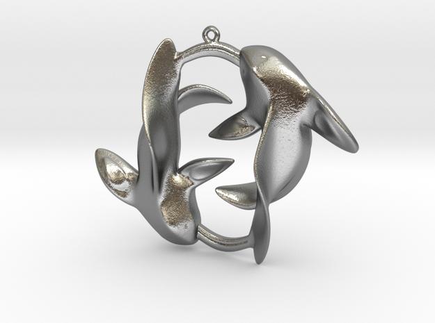 Circle of Fish in Natural Silver