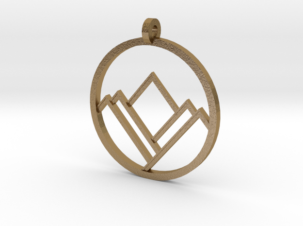 A Mountain in A Circle in Polished Gold Steel