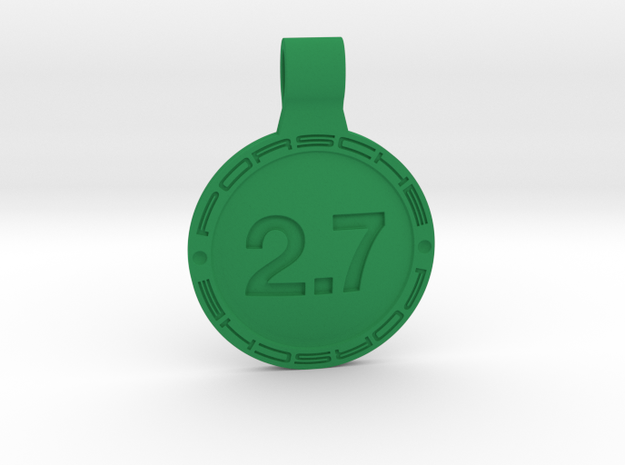 Key ring Porsche 2.7 liters in Green Processed Versatile Plastic