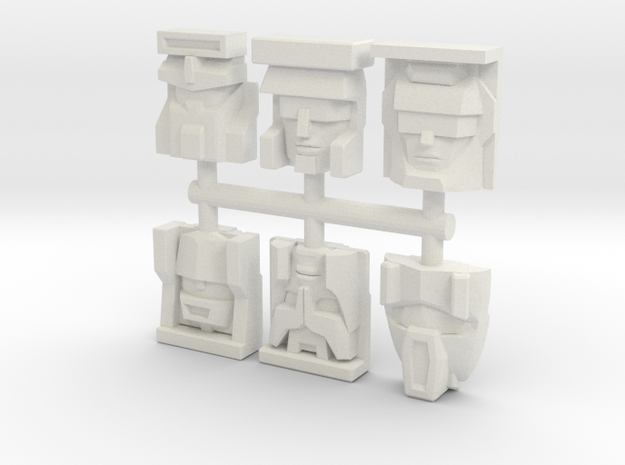 Constructicon Faceplates (Titans Return) in White Natural Versatile Plastic