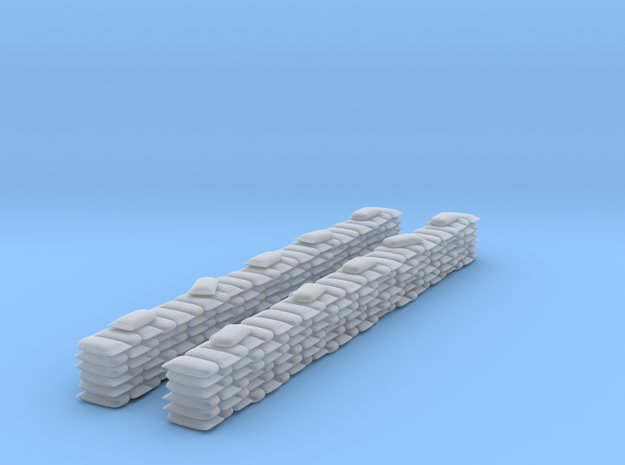 2 Sandbag Walls for 6mm, 1/300 or 1/285 in Smooth Fine Detail Plastic