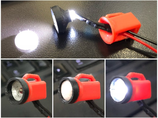 1/10 Scale Flashlight lens in Smooth Fine Detail Plastic