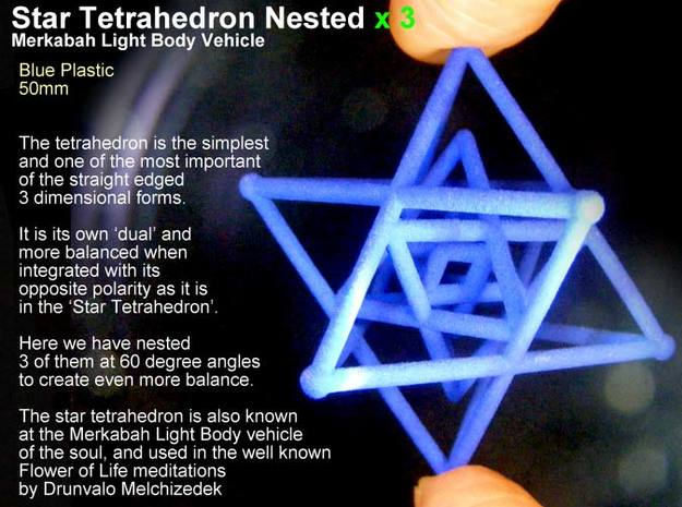 3 Merkabah Star Tetrahedrons Nested 50mm in White Natural Versatile Plastic