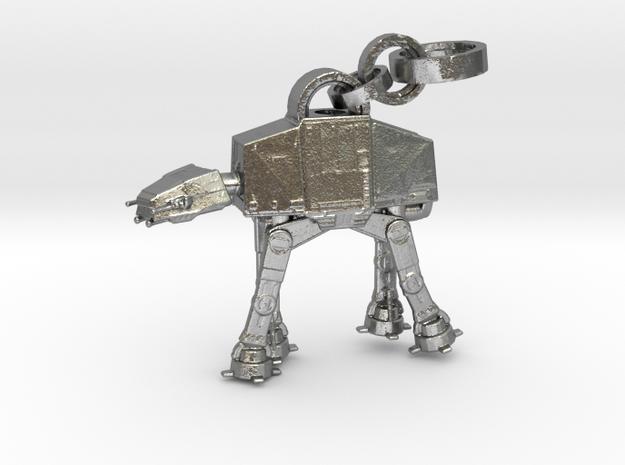 Robot Pendant in Interlocking Raw Silver
