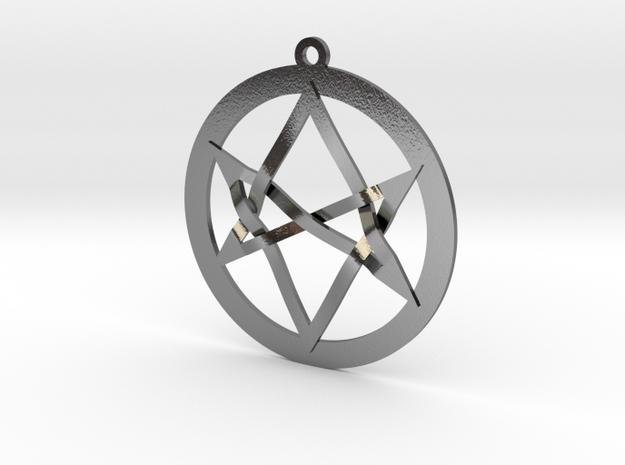Interlaced Unicursal Hexagram in Polished Silver