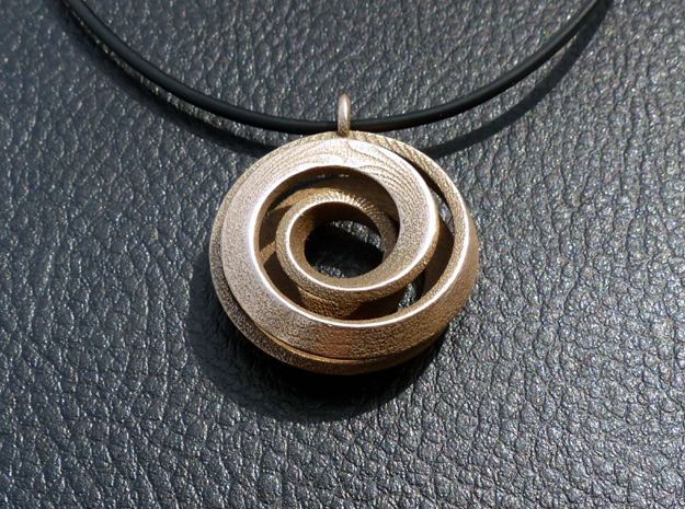 Single Strand Spiral Pendant in Polished Bronzed Silver Steel