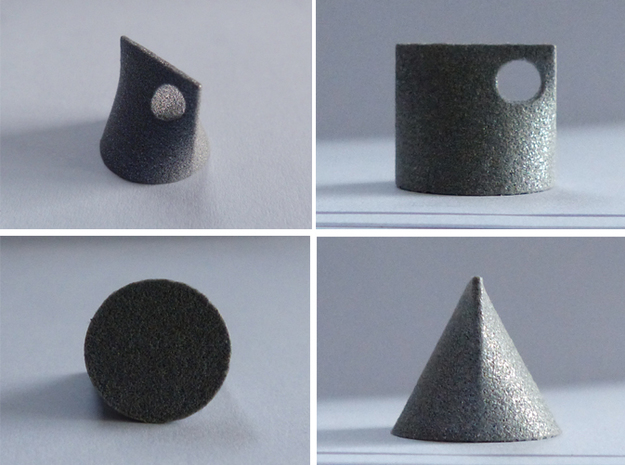 Shape Sorter Circle, Triangle, Square Pendant 3d printed Polished Alumide.  This is the same pendant from four different angles