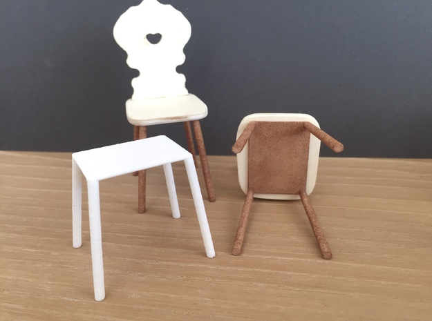 1:12 Chair legs slanted 10%, pair in White Processed Versatile Plastic