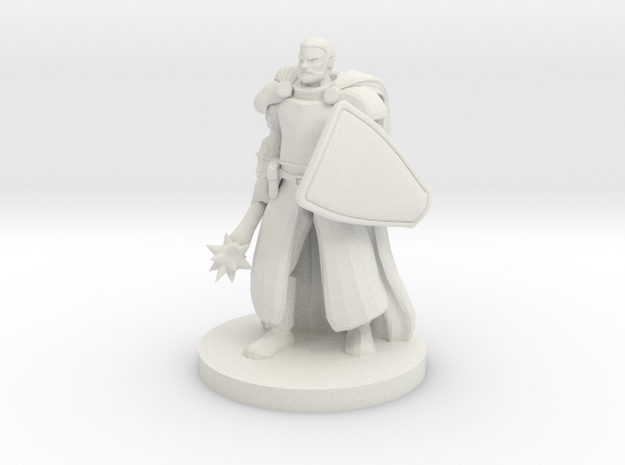Sun Cleric with a Mace and Shield in White Natural Versatile Plastic