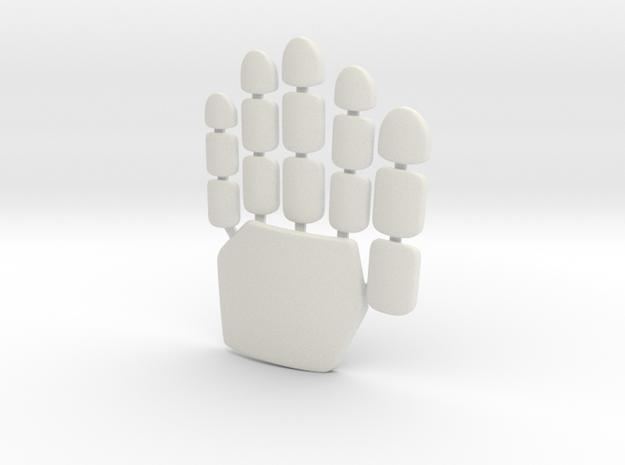 Daft Punk glove plates - left hand in White Natural Versatile Plastic